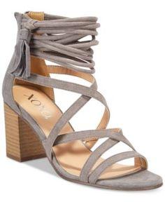 Xoxo Elle Block-Heel Sandals - Gray 9M