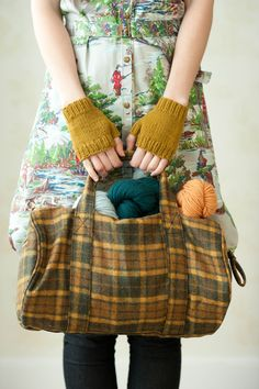idea for repurposing plaid woolen shirts.  Knitbot Essentials by Hannah Fettig and Quince & Co.