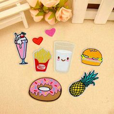 8pcs Fruit Donuts Badge Embroidery Sew Iron On Patch Bag Clothes Fabric Applique #UnbrandedGeneric
