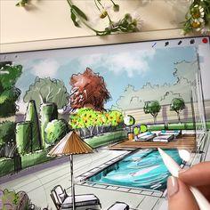 Обучаю рисовать скетчи с нуля. Ландшафтный скетчинг. Работы моей ученицы.