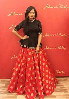 #peplum #black #croptop #red #baneras #brocade #zari #silk #skirt #mirrorwork #collarwork #sleevework #ashwinireddy