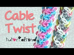 Rainbow Loom CABLE TWIST (reversible) Bracelet. Designed and loomed by TutorialsbyA. Click photo for YouTube tutorial. 03/25/14