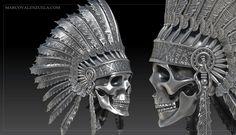 Indian Chief Skull digital sculpture by Marco Valenzuela