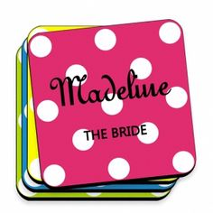 Great Unique Personalized Gift Ideas. Multi Color Personalized Polka Dot Coaster Set http://www.greatuniquegiftideas.com/product/multi-color-personalized-polka-dot-coaster-set/