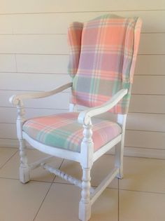 Here's an old chair that I repainted in shabby chic white then reupholstered using a gelato pastels coloured vintage wool blanket.