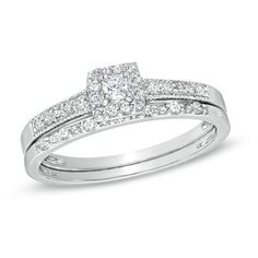 1/4 CT. T.W. Princess-Cut Diamond Frame Bridal Set in Sterling Silver - View All Rings - Zales