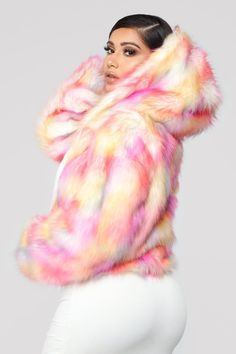 Fur Sure Hooded Jacket - Pink/Combo Pink Fashion, Fashion Outfits, Womens Fashion, Fashion Fall, Warm Outfits, Cute Outfits, 30th Birthday Outfit, Harajuku Fashion, Event Dresses