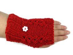 Fingerless Gloves Hand Knitted Wrist Warmer by ToppyToppyKnits