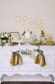 1st anniversary party ideas in gold white