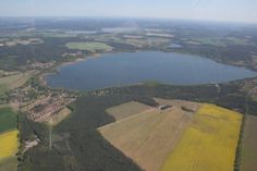 Wolziger See. Lake Wolzig, State of Brandenburg, Germany. Aerial view