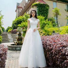 Angel Wedding Dress Marriage Bride Bridal Gown Vestido De Noiva 2017 beautiful fairy, retro small collar, lace, bead, 2228
