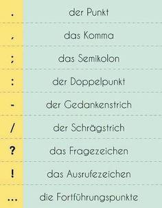 German Punctuation Zeichensetzung - Interpunktion Punctuation Marks in German Study German, German English, German Grammar, German Words, German Language Learning, Language Study, Dual Language, German Resources, Deutsch Language
