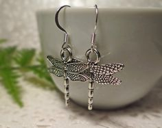 Silver dragonfly earrings Dragonfly by BulletsBeadsBaubles on Etsy