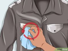 Image titled Clean a Leather Jacket Step 3 Clean Car Seats, Leather Cleaning, 2017 Photos, Out Of Style, Jacket Style, Wetsuit, Going Out, Leather Jacket, Swimwear