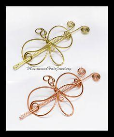 2 Hair bun Slides Brass and Copper hair by MusawwarHairJewelery