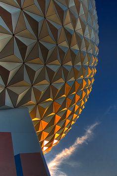 Spaceship Earth at Epcot Center Walt Disney World, Disney World Florida, Disney World Resorts, Disney Parks, Disney Pixar, Disney Love, Disney Magic, Amazing Architecture, Architecture Details