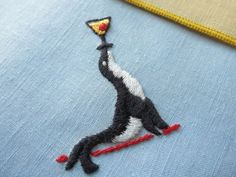 SEAL BALANCES COCKTAIL on NOSE Hand Embroidery Linen 6 Cocktail Napkins CUTE!