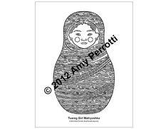 Tuareg Girl Matryoshka Coloring sheet PDF by AmyPerrotti on Etsy
