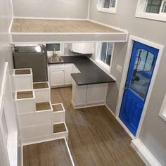 Two Bedroom by Upper Valley Tiny Homes - Tiny Living Two large bedroom lofts with storage stairs leading to each loft. The kitchen has a full refrigera Two Bedroom Tiny House, Tiny House Loft, Tiny House Storage, Best Tiny House, Tiny House Living, Tiny House Plans, Bedroom Loft, Small House Design, Large Bedroom