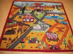 Captivating Disney Cars 2 Lightning McQueen Radiator Springs Town Play Mat Area Rug  Square | EBay