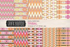 Tribal pattern digital paper girly