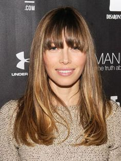 A Cut Below the Collarbone, With a Side of Bang  You don't actually have to get a fringe, like Jessica Biel did, in order to have this coveted one-length cut that falls below the collarbone.  However, a rounded bang does add a nice touch, drawing attention to your eyes and framing your face.