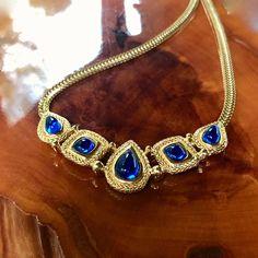 Vintage Boho Festival Abstract Blue Green Silver Choker Necklace