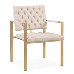 Cream Velvet Tufted Gold Frame Chair