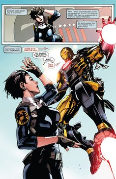 superheroes-or-whatever: Iron Man and Maria Hill from Indestrucible Hulk (2012-) #2, art by Leinil Yu.