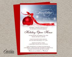 Festive Holiday Open House Invitations For Business Or Store With Red Ornament In Snow By iDesignStationery On Etsy