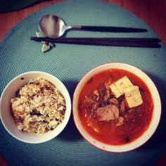 Spicy tuna kimchi soup