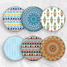 "Boho Patterns 1"" bottle cap images feather 1 inch circles Digital Collage Sheet cabochon pendant 25"