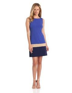 Donna Morgan Women's Sleeveless Color Block Shift Dress, Cobalt/Beige/Navy, 4