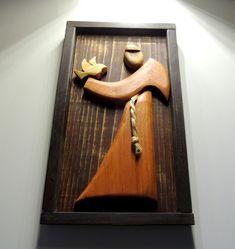 Quadro Divino esplendor madeira chique rústico no Holy Mary, Cnc Projects, Marquetry, String Art, Door Handles, Carving, Wood, Crafts, Home Decor