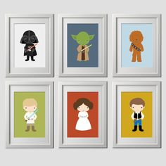 The perfect star wars wall art for your little ones room or playroom! THIS IS FOR 6 (8x10) PRINTS, shipped Listing includes (6) 8x10 inch PRINTS on lustre matte finish photo paper including:   Other wall art products in the shop found here: https://www.etsy.com/shop/AmysSimpleDesigns?section_id=14369388   FRAME and MATTE NOT included. used for display purposes only.   Comes with 6 prints, you choose characters and background colors. other images show other products in...