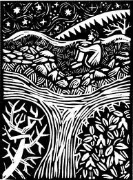 linocut  I call this Beside the river, under the stars!
