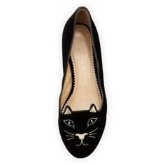 Charlotte Olympia Kitty Velvet Cat-Embroidered Flat ($530) ❤ liked on Polyvore featuring shoes, flats, black flats, black velvet flats, velvet flats, cat footwear and metallic flats
