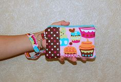 Sweet Cupcake Treats and Polka Dots - Wristlet Purse with Removable Strap and Interior Pocket