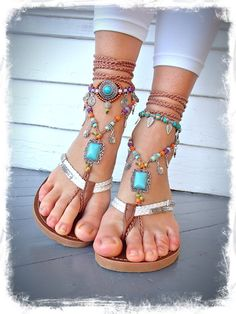 Turquoise Boho BAREFOOT Sandals FESTIVAL sandals Native by GPyoga, $87.00