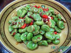 Leckere dicke Bohnen mit Chilis vom Jie Lai Kang Restaurant, Xining