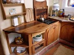 small kitchen in cob house