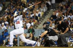 Yasiel Puig returned to the lineup for Los Angeles on Saturday and propelled the Dodgers to a victory over the Colorado Rockies. Yasiel Puig, Baseball Pictures, Great Team, Los Angeles Dodgers, Lineup, My Boys, Victorious, The Past, Baseball Cards