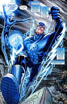 Blue lantern means hope but in this picture it a mix between him and the flash Comic Book Covers, Comic Books Art, Comic Art, Dc Comics Art, Marvel Dc Comics, Flash Comics, Justice League, Blue Lantern Corps, O Flash