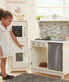 This White Sunday Brunch Wooden Play Kitchen Set is perfect! #zulilyfinds