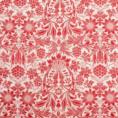 Red/Antique White Floral Printed Stretch Cotton Poplin Fabric by the Yard   Mood Fabrics