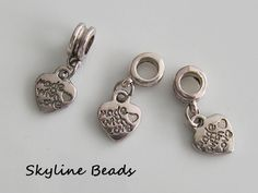 European Dangle Charms, Heart - Handmade with Love , Metal / Alloy, Tibetan Style,  Antique Silver