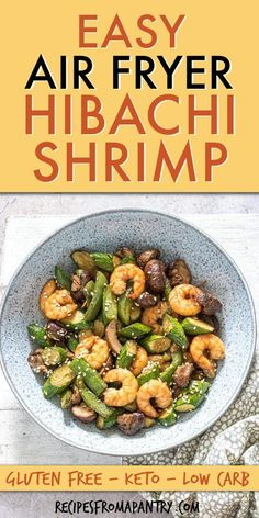 Air Fryer Hibachi Shrimp Dinner is a delicious restaurant-quality Japanese meal that is SO quick & easy to make. This air fried shrimp hibachi and veggies is super versatile; serve it as is for a low carb meal or with Yum Yum Sauce. You're gonna L Easy Potluck Recipes, Air Fryer Dinner Recipes, Shrimp Recipes For Dinner, Grilled Shrimp Recipes, Best Seafood Recipes, Potluck Dishes, Fish Recipes, Lunch Recipes, Summer Recipes