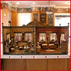 Deluxe German Wooden Dollhouse Double Room Box from the Museum at Davos Switzerland The legendary toy museum in Davos Switzerland featuring the