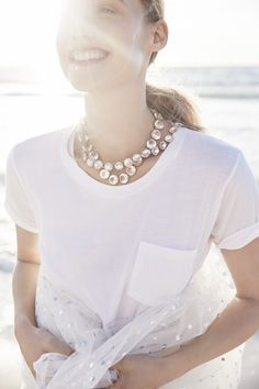 Weddings & Parties: J.Crew women's garment-dyed pocket T-shirt, crystal Venus flytrap necklace and classic crystal necklace.