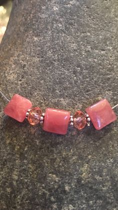 Rhodocrosite choker necklace by PrettyStoneCreations on Etsy
